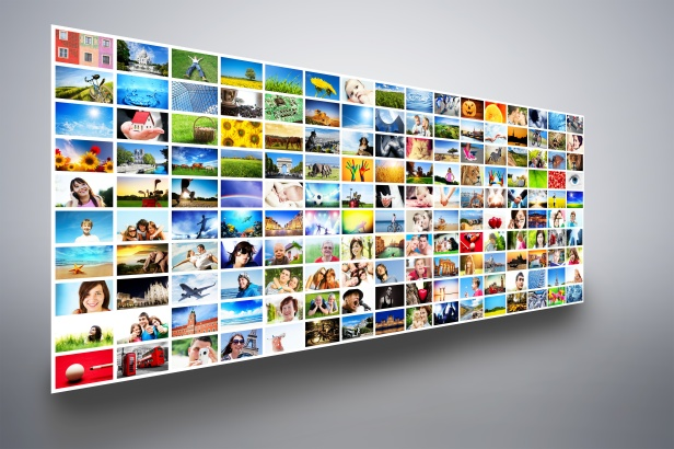Pictures display on monitors, screens. Multimedia broadcast
