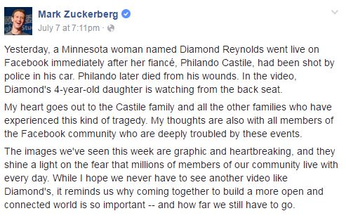 Zuckerberg statement on shooting